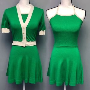 VTG 70s Hubba Hubba UK Halter Dress Cardigan Set